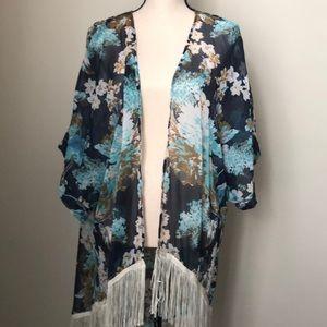 Floral kimono with fringe NWOT one size